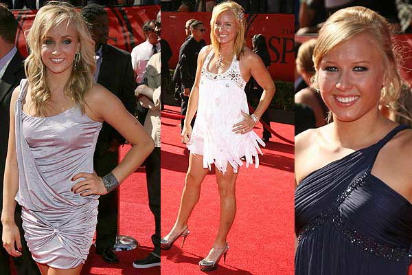 US gymnast Nastia Luken, tennis player Bethany Maddox and swimmer Jessica Long pose on the red carpet after arriving for the taping of the 2009 ESPY Awards in Los Angeles.
