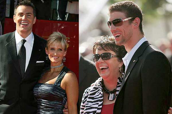 Arizona Cardinals quarterback Kurt Warner and his wife Brenda (left) as well as Olympic swimming sensation Michael Phelps (right) and his mum, Debbie, arrive for the taping of the ESPY Awards in Los Angeles.