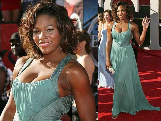 Tennis star Serena Williams, fresh from winning Wimbledon, struts the red carpet for the ESPY Awards in Los Angles.