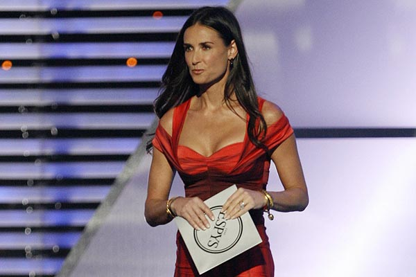 Actress Demi Moore heads out to announce the winner of the best male athlete at the ESPY Awards in Los Angeles.