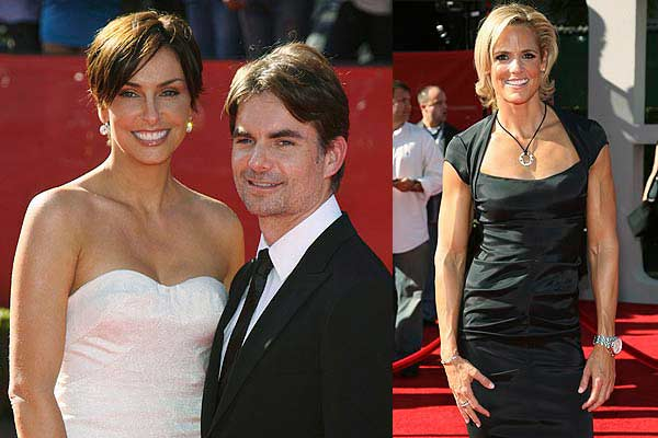 Nascar star Jeff Gordon and wife Ingrid Vandebosch (left) and swimming star Dana Torres on the red carpet for the ESPY Awards ceremony taping in Los Angeles.