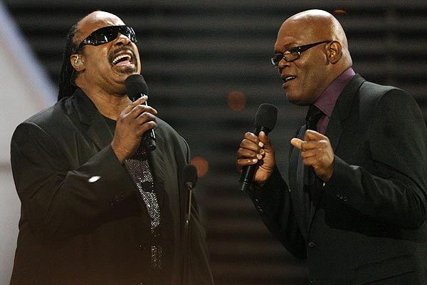 Singing superstar Steve Wonder performs with host and actor Samuel L Jackson at the annual ESPY Awards for sport in Los Angeles.