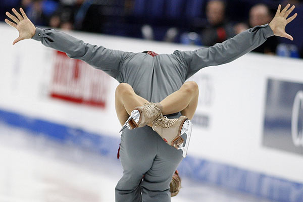 Aliona Savchenko and Robin Szolkowy of Germany perform during the pairs free program at the European Figure Skating Championships in Helsinki.