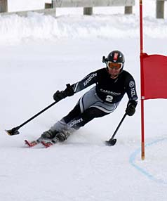 WINNING WAY: Wanaka skier Adam Hall competes in the Giant Slalom at the Cardrona Disabled National Championships this week, on his way to winning three gold medals at the event.