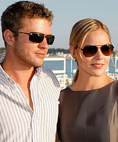 TRICKY TIMES: Abbie Cornish with partner Ryan Philllippe in Cannes this year.