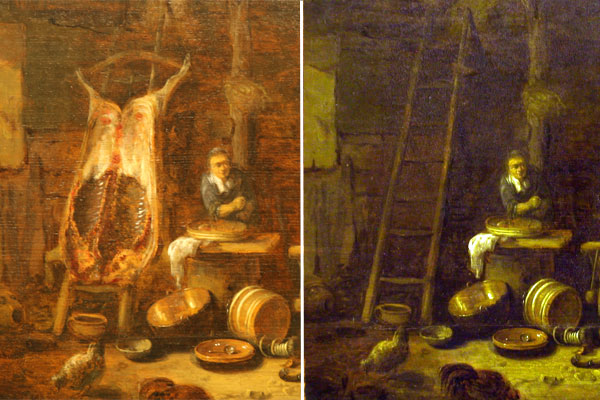 HERE PIGGY, PIGGY: The restored painting Barn Interior by the 17th century Dutch artist Egbert van der Poel with the revealed image of a flayed pig that had been painted over, and the painting before it underwent restoration.