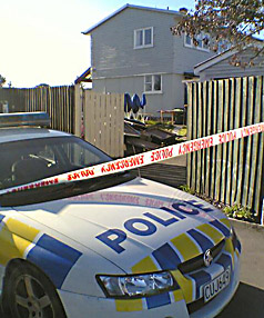 Scene: Police at the property in Wainoni where a woman's body was found.