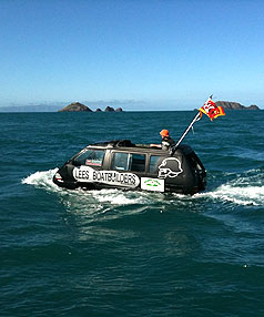 VAN OVERBOARD: Roofliss the amphibian van during the attempt to cross Cook Strait.