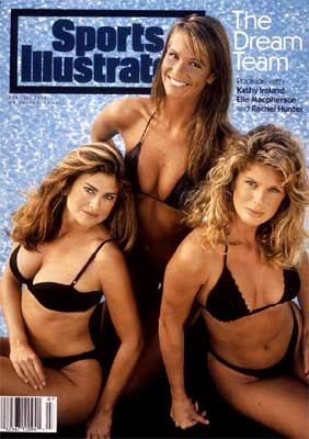 he 30th anniversary Sports Illustrated swimsuit issue featured a 'dream team' of models - Kathy Ireland, Elle Macpherson and Rachel Hunter.