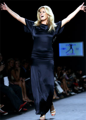 Rachel Hunter on the runway during the Fashion Relief show in 2005, held to benefit victims of Hurricane Katrina.