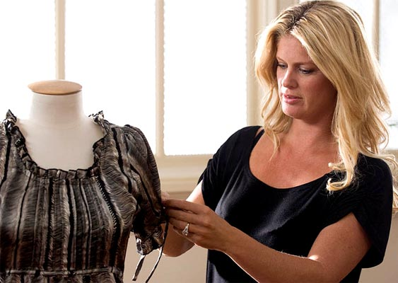 Rachel Hunter with one of the items from her clothing range 'Rachel' designed for the Warehouse.