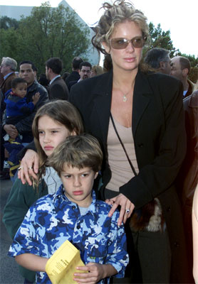 Rachel Hunter and children Renee and Liam arrive as at the premiere of 'Jimmy Neutron Boy Genius in 2001.