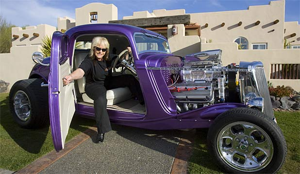 TOP ROD: Lincoln grandmother Maureen Fairburn has built a 1934 Ford Coupe, one of New Zealand's most expensive hot rods.