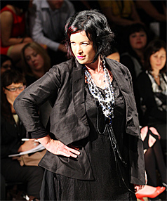 SHOWING IT OFF: Hamilton midwife and mother of three Jo Hart  on the catwalk at Air New Zealand Fashion Week, modelling in The Carpenters Daughter fashion show.