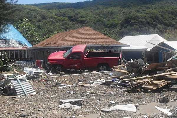 A ute comes to rest after the earthquake