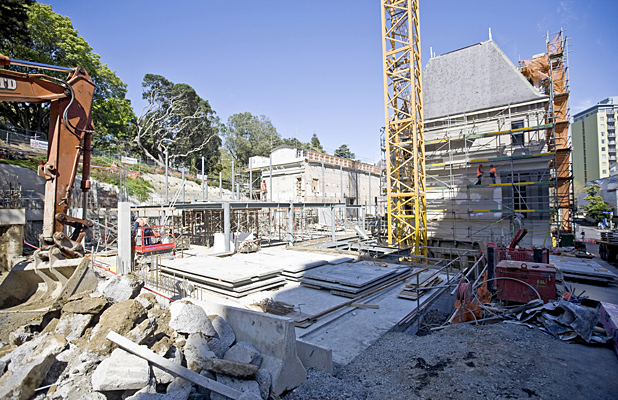 ONE YEAR GONE: Work is under way on the heritage wings of the art gallery and will soon begin on the new extension.