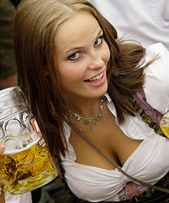 A woman enjoys Oktoberfest in Munich.