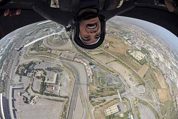 Motorcycle racer Dani Pedrosa takes a flight over the Circuit de Catalunya track in Barcelona ahead of the Spanish MotoGP race.