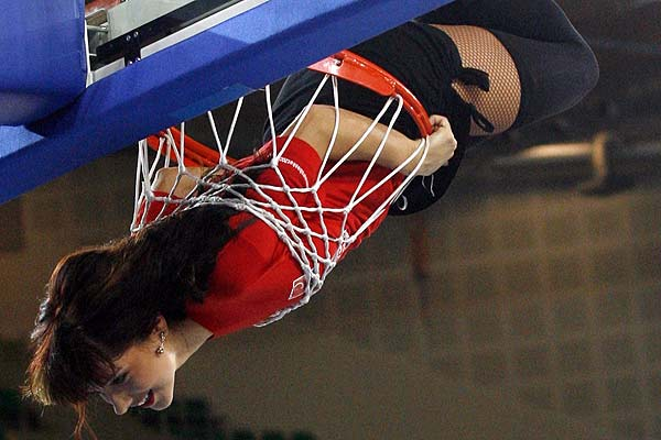 A cheerleader performs during the FIBA EuroBasket 2009 Qualifying Round Group E basketball game between Macedonia and Russia in Bydgoszcz.