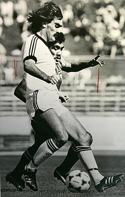 All Whites captain Steve Sumner in action against Kuwait during a 1981 qualifying match for the 1982 World Cup.