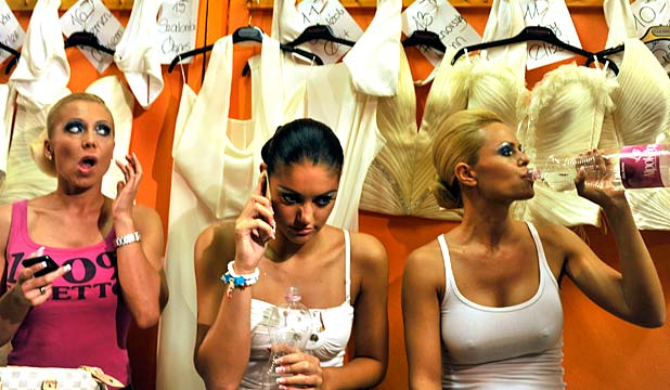 Participants of the Miss Plastic Hungary beauty pageant prepare backstage.