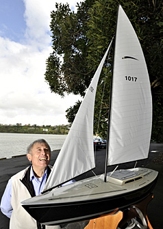 READY TO RACE: Bruce Tantrum admires the first Electron to be made since its creator Des Townson passed away. He says the electronic model yacht is the first Electron AD – After Des.