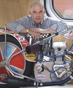 Speedway Superstar Ivan Mauger With His Jawa Which He Rode To Six World Titles