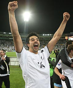 HERO: All Whites striker and goalscorer Rory Fallon celebrates their win over Bahrain.