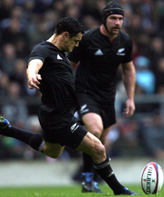 DAN THE MAN: Dan Carter missed two penalties but still managed 14 points against England as he took over from Andrew Mehrtens as the All Blacks all-time leading pointscorer, now with 980.
