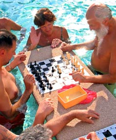 ABOVE BOARD: Mixed bathing, with chess, in Budapest, Hungary.