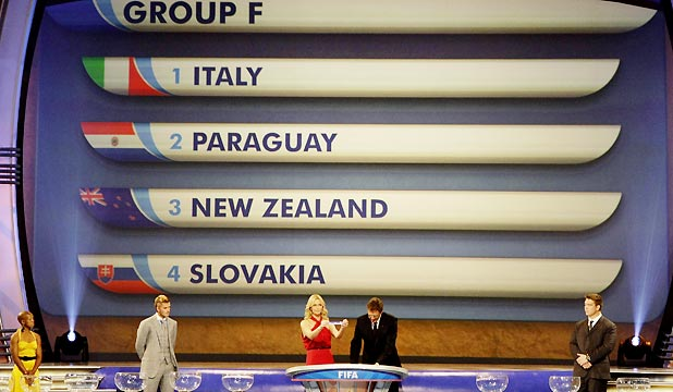 GROUP F: South African actress Charlize Theron holds a slip of paper as the countries drawn into Group F for the 2010 World Cup are announced.