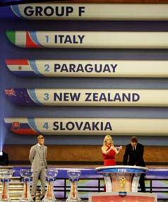 GROUP F: The All Whites drawn in Group F with world champions Italy, European qualifiers Slovakia and South Americans Paraguay.