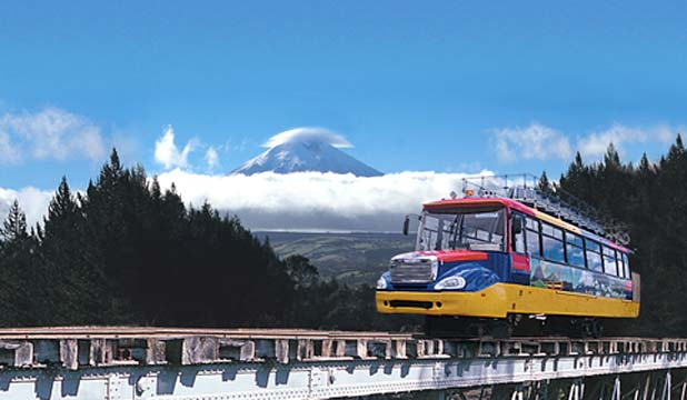 ALIEN TRANSPORTER: The Chiva Express links the Plaza Grande, in Quito, with Hacienda San Augustin, near Cotopaxi volcano.