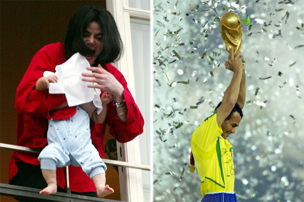 Michael Jackson holds a child out of a window and Cafu lifts the 2002 World Cup trophy
