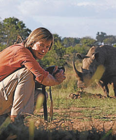 Stevens gets up close to dangerous animals including a rhino.