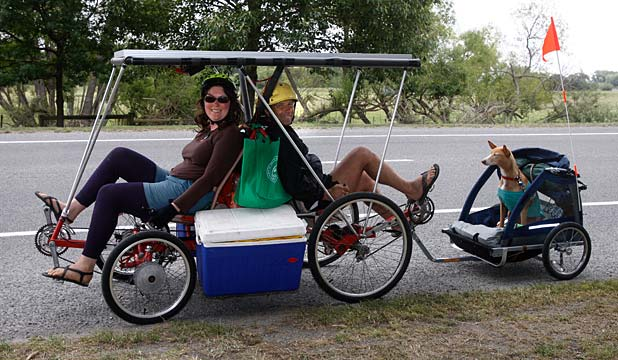 Pedal power: Lisa and Verne Pavreal, with Zara, pass through Temuka yesterday.