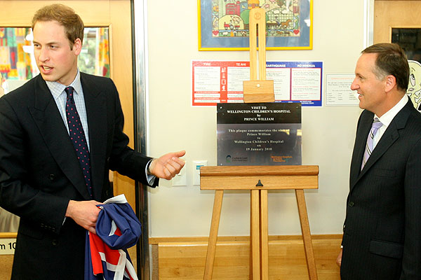 CEREMONY: Prince William and Prime Minister John Key after unveiling a plaque in the childrens ward of the Wellington Hospital.