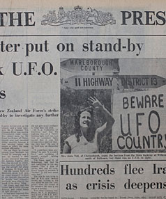 SECRET FILES: Stories in The Press from early January 1979 show  that the air force had a Skyhawk readied to investigate UFO sightings following the mysterious lights which appeared over Kaikoura days before