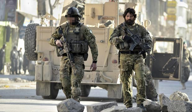 ARMED: SAS members on patrol in Kabul, Afghanistan.