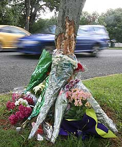 MEMORIAL: Flowers laid at the spot where slain cab driver Hiren Mohini's car crashed in the Auckland suburb of Mt Eden.