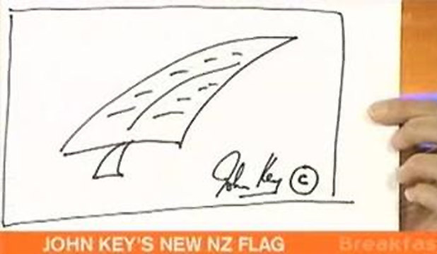 Mr Key draw the silver fern on TVNZ's Breakfast programme at presenter Pippa Wetzell's request.