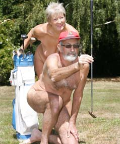 Kay Hannam and Brian Williams from Wai-natur Naturist Park gets some practice in for Sundays Nude Golf International Tournament.