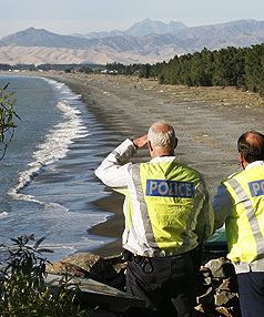 Police were called out at 4.30am today to keep a close eye on the sea conditions at Rarangi Beach, near Blenheim, followng a tsunami alert.