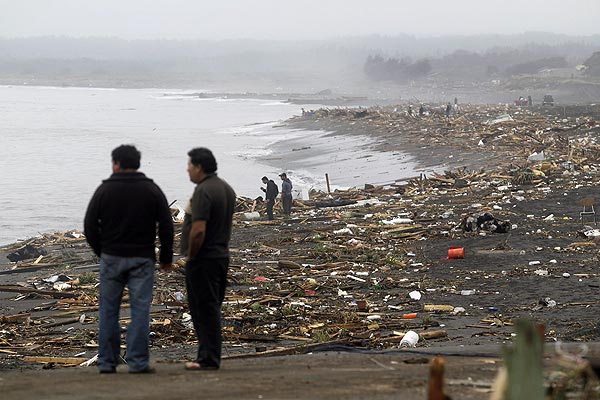 Debris lies on the coast close to the epicentre of the Chile earthquake.