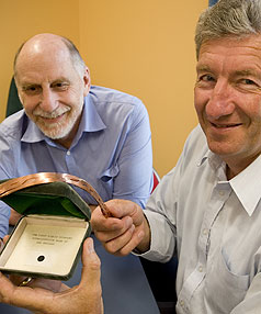 FROM THE LAB TO THE MARKET: The work of Bob Buckley, left, and Jeff Tallon could revolutionise electricity transmission.