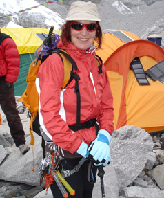 KIWI CLIMBER: Mountaineer Lydia Bradey, at Everest Basecamp in 2008.