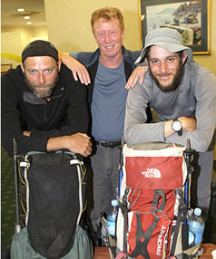 TAKING THE LONG WAY: Tramper Paulus Smit (left), from the Netherlands, and Israeli tramper Eyal Schwartz (right) meet  Te Araroa national walking track chief executive Geoff Chapple after spending about three months walking the track from Kaitaia to Bluff.