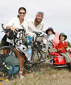 BIKE-A-THON: Dave and Rachel Monk and their sons Dylan, three, and Lewis, 22 months, have travelled the length of the South Island in a twist on a summer camping holiday.