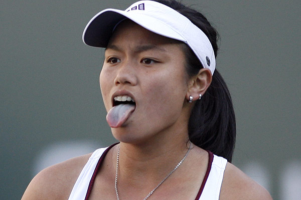 Tawan's Chan Yung-Jan sticks out her tongue as she reacts to losing a point against Lindsay Davenport of the US during their match at the Pacific Life Open tennis tournament in Indian Wells.