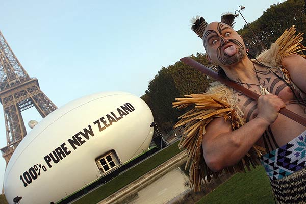 A Maori performs during the inauguration of the